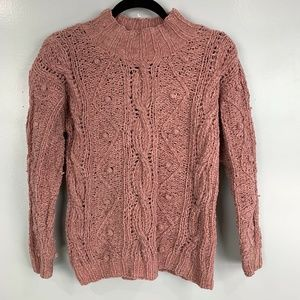 JG Hook Vintage Pom Pom Mock Neck Pullover Sweater